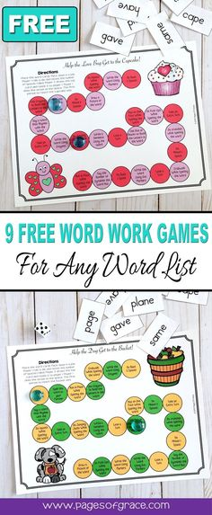 Help your students master any word list and have some holiday and seasonal fun with this set of 9 FREE word work board games! There a 9 games board, themed for each month of the school year-Back to school, Halloween, Thanksgiving, Christmas, Winter, Valentine's Day, St. Patrick's Day, Easter, Spring, Can be used with any word list-phonics, sight words, spelling words. Great for kindergarten, first grade, second grade, third grade. Fun activity for literacy centers!