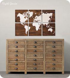Large World Map Wall Art on Walnut Wood Grain Panels - Nursery Art. $235.00, via Etsy.