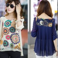 GREAT CHIFFON SHIRT DARK BLUE WITH MUTI COLOR COLOR DARK BLUE WOMENS STYLISH  BLUE MUTI COLOR DESIGN SHIRT WILL GO WITH EVERYTHING LOVE THE STYE OF THIS SHIRT LOTS OF DETAIL NEW WITH A TAG SZ XXL WILL FIT SMALLER SZ BECAUSE OF THE STYLE THIS SHIRTS IS ALSO HIGH LOW TOP MUST HAVE Tops