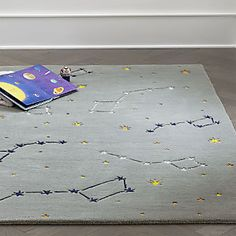 Sale ends soon. Now you can see the constellations in the night sky without looking up. Just look down at your feet, because our Constellation rug features a variety of starry designs against a dark grey background. Galaxy Nursery, Sky Nursery, Space Themed Nursery, Nursery Themes, Nursery Ideas, Themed Rooms, Bedroom Ideas, Baby Boy Rooms, Baby Boy Nurseries