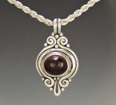 Sterling Silver Garnet Cabochon Pendant -Handmade One of a Kind Artisan Jewelry Made in the USA with Free Domestic Shipping. Denim and Diamonds Jewelry Sterling Silver Midi Rings, Sterling Silver Pendants, Long Silver Necklace, Silver Necklaces, Denim And Diamonds, Sea Glass Jewelry, Artisan Jewelry, Garnet, Usa