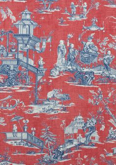 CHENG TOILE, Red and Blue, F975466, Collection Dynasty from Thibaut