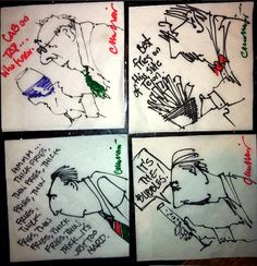 """Another night, another stack of doodles ...at The Famous, Colorado Springs. (Did they call it """"Famous"""" on opening day?) And the correct answer (see napkin) is """"skinny"""" fries. • I drew these 4 napkins in one sitting to demonstrate that it is not at all accurate when people say, """"There's that GUY you always draw."""" (As if I only had one cartoon face in my quiver of characters.) Since I've been doodling since BEFORE I started school, I have add a FEW faces to my repertoire."""