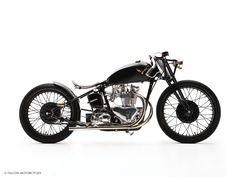 The Bullet is a custom Triumph motorcycle, that started as the derelict frame and engine of a 1950 pre-unit Triumph Thunderbird — the bike Marlon Brando rode in The Wild One. The concept was inspired by what a Triumph board track racer would have l British Motorcycles, Cool Motorcycles, Vintage Motorcycles, Bullet Motorcycle, Bobber Seat, Triumph Thunderbird, Oldschool, Bobber Chopper, Triumph Motorcycles