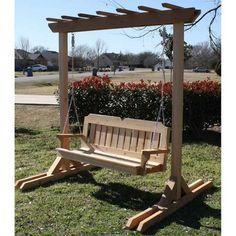 TMP Outdoor Furniture Cedar Arbor With Victorian Swing Solid Cedar