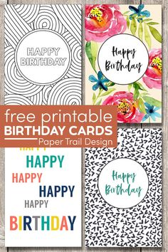 Free Printable Birthday Cards. Foldable printable birthday cards including birthday card to color and floral birthday card design. #papertraildesign #Birthday #birthdaycard #happybirthday #happybirthdaycard #birthdays #birthdaycards #DIYbirthdaycard #easybirthdaycard #freebirthdaycard #freeprintable Birthday Cards To Print, Free Printable Birthday Cards, Free Birthday Card, Simple Birthday Cards, Birthday Cards For Him, Birthday Card Design, Happy Birthday Greeting Card, Printable Activities For Kids, Free Printables