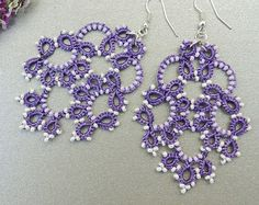Tatted earrings - Tatted jewelry - Long lace earrings - Dangle earrings - Chandelier earrings - Elegant earrings - Purple earrings