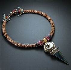 Eye with Blue Tiger Eye Spike Necklace by Laura Mccabe