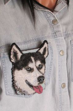 OOAK  Beaded Siberian Husky Pin  Handmade by CreationsbyWhiteWolf, $100.00