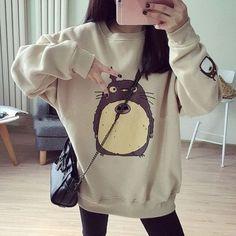 Women-Cute-Cartoon-Totoro-Print-Hoodie-Jacket-Slim-Sweatshirt-Coat-Pullover-Tops