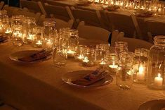 candles in mason jars for outdoor party lights Mason Jar Centerpieces, Mason Jar Candles, Mason Jar Lighting, Wedding Centerpieces, Candels, Votive Candles, White Candles, Wedding Decorations, Simple Centerpieces