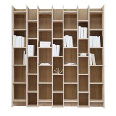 Bibliothèque étagère en bois naturel plaqué chêne Expand
