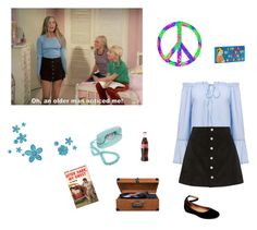 """""""Marcia Brady"""" by littlesweetheart123 ❤ liked on Polyvore featuring AG Adriano Goldschmied, Steve Madden, Crosley, Crosley Radio & Furniture and vintage"""