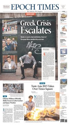 The Epoch Times for June 29, 2015, via Today's Front Pages | Newseum #newsdesign #newspapers