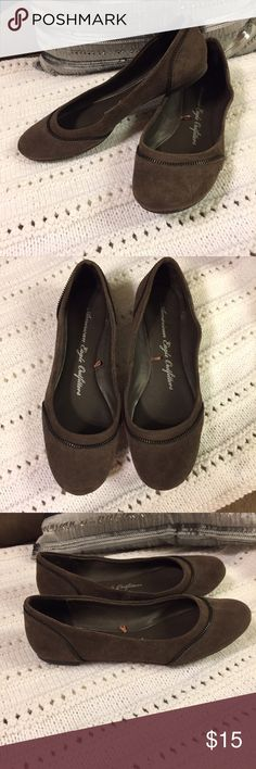 American Eagle Flats American Eagle Flats with zipper design embellishment | Brown | 10w | very well taken care of | Smoke free home American Eagle Outfitters Shoes Flats & Loafers
