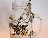 Glass Mason Jar Mug - Hand Painted Bee Design