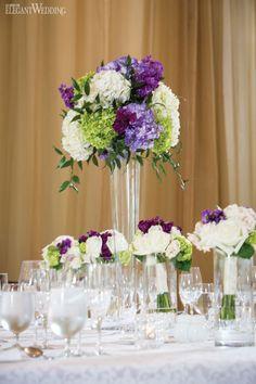 Purple and green floral centrepieces, wedding table setting and decor SPRINGTIME IN PARIS WEDDING THEME www.elegantwedding.ca