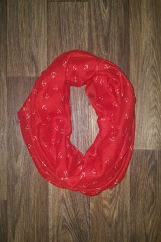 Red Infinity Scarf with White Anchors Wear with our Preppy Vest: https://www.shoppinwithsailin.com/collections/scarves/products/red-infinity-scarf-with-white-anchors?utm_content=bufferdb829&utm_medium=social&utm_source=pinterest.com&utm_campaign=buffer  Infinity scarf with with small white anchors!  Love this pop of color!  100% Polyester FREE SHIPPING!!!