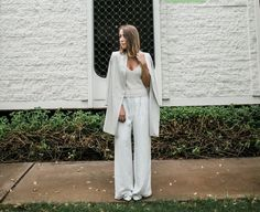 Light grey knit top+white wide pants+white pumps+light grey long blazer. Late Summer outfit 2016
