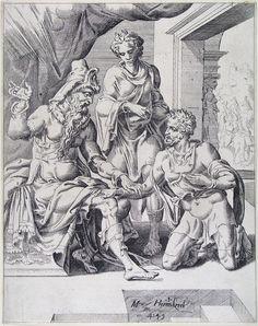 Titel: Abraham zweert aan Abimelek (Geschiedenis van Isaac)     Maker: graficus:    Coornhert, Dirck Volckertsz    ontwerper:    Heemskerck, Maerten van       Verv.jaar: 1549   Periode onderwerp: 16e/17e eeuw