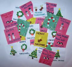 Our Thumbprint Christmas Cards from Handprint and Footprint Art