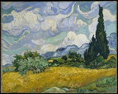 Wheat Field with Cypresses  Vincent van Gogh (Dutch, Zundert 1853–1890 Auvers-sur-Oise)  Date: 1889  Medium: Oil on canvas  Accession Number: 1993.132  On view at The Met Fifth Avenue in Gallery 822