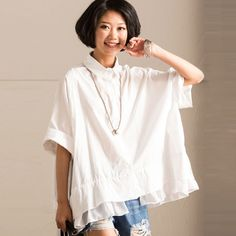 Splicing Women Loose Casual Retro Summer Cotton Irregular White Shirt