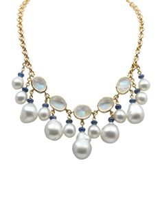 18k South Sea Pearl, Moonstone & Sapphire Necklace