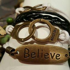 Believe Black And White Bracelet