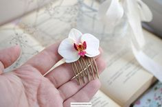 Handmade hair comb with white orchid flower Made of polymer clay and not fragile Small gift for a wedding
