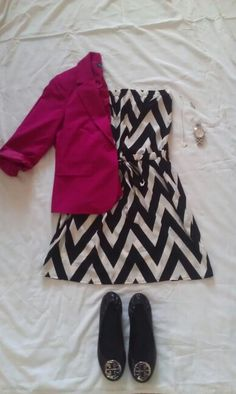 MAY 8: Chevron dress, pink blazer, Tory Burch flats, silver accessories