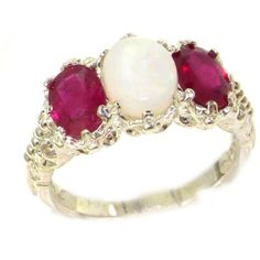 925 Sterling Silver Natural Opal and Ruby Womens Trilogy Ring  Sizes 4 to 12 Available ** Check out this great product.Note:It is affiliate link to Amazon.
