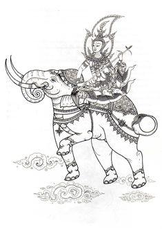 พระพุธทรงคชสาร Muay Boran, Sak Yant Tattoo, Thai Design, Thailand Art, Thai Tattoo, Art Inspiration Drawing, Thai Art, Elephant Art, Religious Art