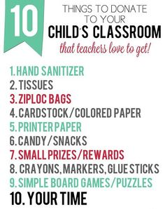 classroom donation list, back to school gift basket for teacher