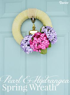 Pearl and Hydrangea DIY Spring Wreath