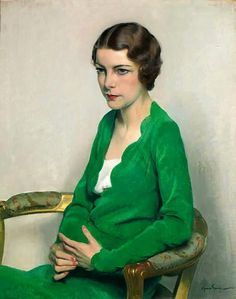 Woman in a Green Dress Sir Herbert James Gunn