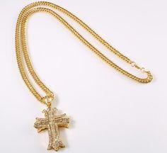 Mens Hip Hop Cross Necklace Crystal Jewllery Cross Pendant 18k gold plated new | eBay
