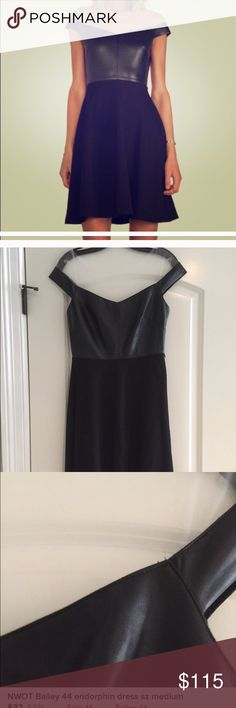 NWT Bailey 44 Dress High-style, expensive brand.. This dress is so cute!!! Just need to downsize :( Leather-like top with tulle overlay on the shoulders (see-through). Black skirt. Size medium. 💕Reasonable offers are welcome! I love offers so click the button and try one out! 💕 Bailey 44 Dresses