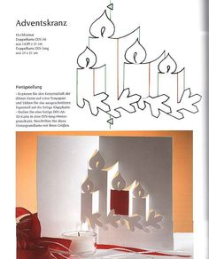Christmas DIY: pop-up pattern - pop-up pattern - Christmas - Wioletta Matusiak - Picasa Web Album Kirigami Templates, Origami And Kirigami, Kirigami Patterns, Pop Up Christmas Cards, Christmas Pops, Christmas Candle, Christmas Albums, Paper Cards, Diy Cards