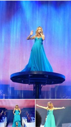 Celine Dion's ending to her las vegas concert performance. There is water falling all around her.