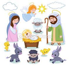 Items similar to Nativity clipart - Christmas clipart on Etsy Christmas Nativity, Christmas Clipart, Christmas Angels, Kids Christmas, Christmas Crafts, Angel Clipart, Clipart Baby, Nativity Characters, Nativity Clipart