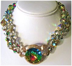 SALE rare signed LAGUNA crystal necklace ab by DIVINEFIND2014, $227.99