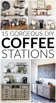 DIY Coffee stations you can easily create in your own home! These simple farmhou. - DIY Coffee stations you can easily create in your own home! These simple farmhouse style coffee bars are exactly the decor your home needs! Coffee Bars In Kitchen, Coffee Bar Home, Coffee Wine, Diy Coffe Bar, Coffe Decor, Coffee Bar Ideas, Coffee Bar Design, Coffee Server, Kitchen Bars
