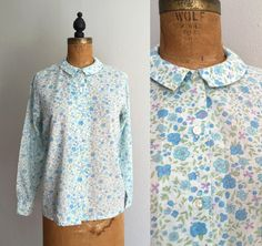 Vintage 1960s Floral Blouse / 60s 50s Peter Pan Collar Semi-Sheer Shirt - Medium/Large