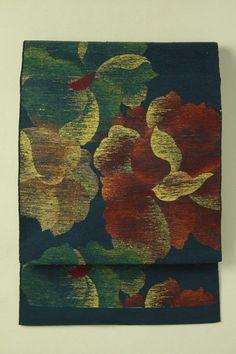 Navy, flower pattern nagoya obi / 紺地 杢の渋め色花柄 六通紬八寸名古屋帯   #Kimono #Japan  http://www.rakuten.co.jp/aiyama/