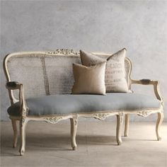 chairs - Feminine vintage settee with a weathered antique white finish and light slate blue upholstery Cane back has some small flaws x x Height Height BR Return PolicyBR This item is not eligible for returns Vintage Sofa, Retro Sofa, Shabby Vintage, Vintage Furniture, Vintage French Decor, Antique French Furniture, Antique Chairs, Retro Vintage, Home Decor Furniture