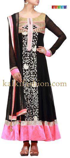Buy it now  http://www.kalkifashion.com/black-anarkali-suit-with-resham-and-zari-work.html  Black anarkali suit with resham and zari work