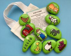 Rock Painting Ideas Discover Old MacDonald Had a Farm Story Stones Early Literacy Tool Nursery Rhymes Reading Teacher Gift Christmas gift Gift for Kids Story rocks Pebble Painting, Pebble Art, Stone Painting, Rock Painting, Story Stones, Farm Nursery, Nursery Rhymes, Nursery Reading, Teacher Christmas Gifts