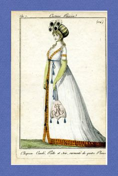 Journal des Dames et des Modes, 1798.    Wow, bonnet!  That is spectacular.  And her reticule!  And that awesome orange trim!