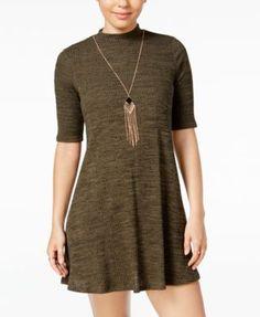 BCX Juniors' Mock-Turtleneck Necklace Shift Dress   macys.com